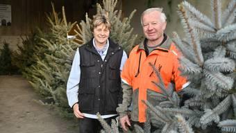 Heidi und Peter Sperisen verkaufen zum letzten Mal Weihnachtsbäume.