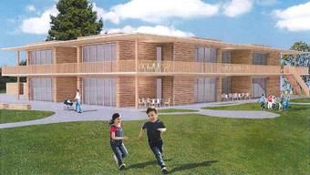 Illustrationen sind manchmal trügerisch: Diese zeigt als Projektidee das neue Kinder- und Jugendzentrum mit Kinderkrippe, Vorkindergarten und schulergänzendem Bereich. Vorgesehen ist aber nur der Bau eines Stockes. Ein zweiter Stock ist später bei Bedarf machbar.