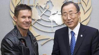 Felix Baumgartner (links) mit UNO-Generalsekretär Ban Ki Moon