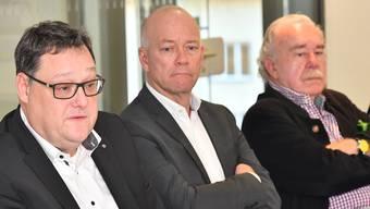 Die beiden Initianten Marc Thommen (links) und Massimo Hauswirth (rechts) sowie Oltens Stadtpräsident Martin Wey gestern an der Medienkonferenz.