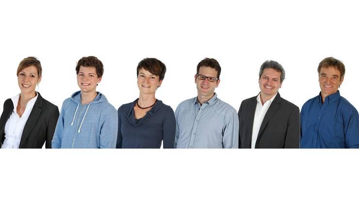 Sie wollen für die Grünen in den Grossen Rat: Kim Schweri (bisher), Miro Müller, Petra Rutschmann, Gregor Zimmermann, Christian Keller und Hans Hug.