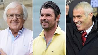 Für die Swiss Legends kommen frühere Internationale wie etwa Andy Egli (rechts) oder Ciriaco Sforza (Mitte). Trainiert werden sie vom ewig jungen Startrainer Gilbert Gress (links).