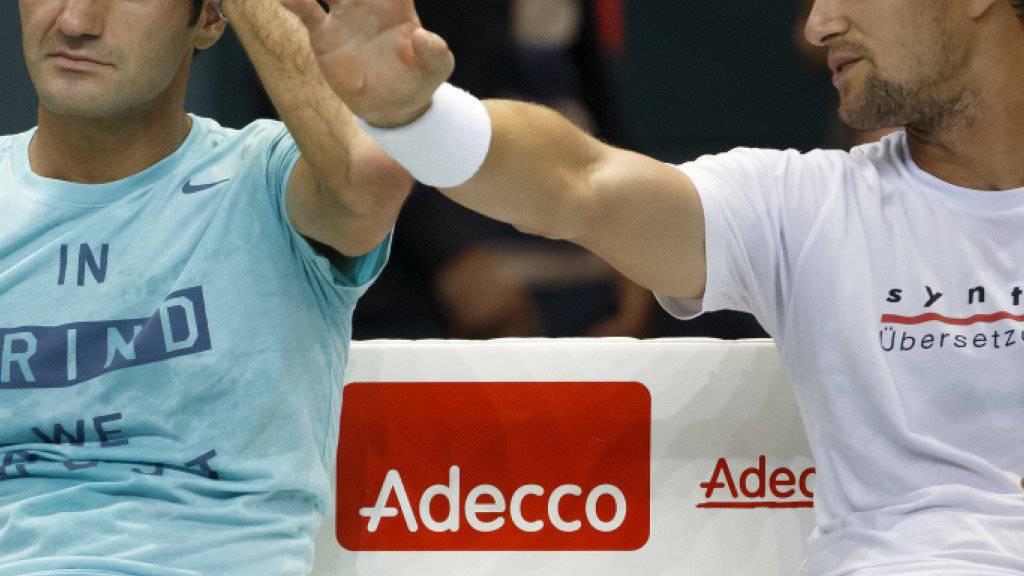 Gemeinsamer Einsatz im Doppel: Marco Chiudinelli (rechts) und Roger Federer