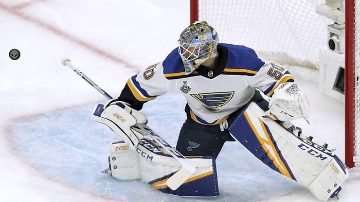 St. Louis Goalie Jordan Binnington war mit 38 Paraden einmal mehr der Matchwinner für die Blues, die nun dicht vor dem Stanley-Cup-Triumph stehen