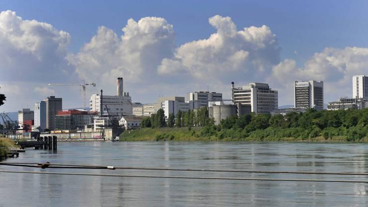 Blick über den Rhein: Links das Klybeckquai, rechts der Novartis-Campus.