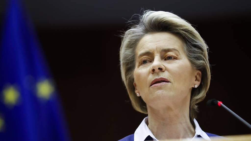 ARCHIV - Ursula von der Leyen, Präsidentin der Europäischen Kommission, spricht während einer Plenarsitzung im Europäischen Parlament in Brüssel. Foto: Francisco Seco/AP Pool/dpa