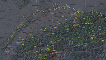 Aktuelle Temperaturen (Stand 15.40 Uhr) in der Schweiz