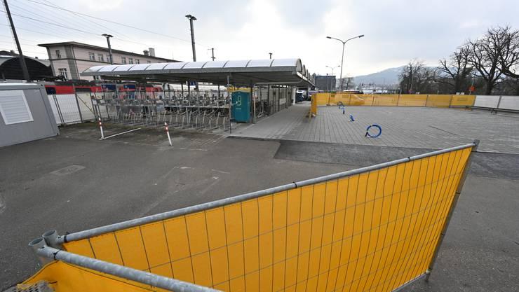 Veloparking Olten Nord: Noch fehlt einiges bis zur Wiederöffnung im März.