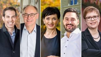 Von links nach rechts: Thierry Burkart, Hansjörg Knecht, Marianne Binder, Cédric Wermuth und Ruth Müri.
