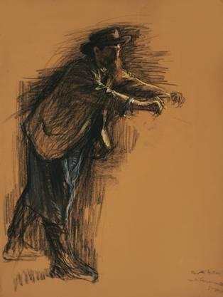 Mann an der Kelter, o.J. (1899-1904), Kohle, mit Pastell gehöht auf  Papier, 59.5 x 44.5 cm