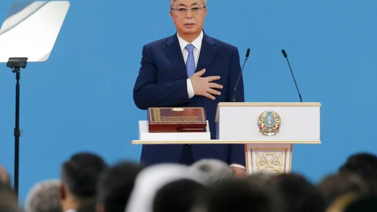 Der neue Präsident Kasachstans Kassim-Jomart Tokajew bei seiner Vereidigung in Nur-Sultan, dem früheren Astana.