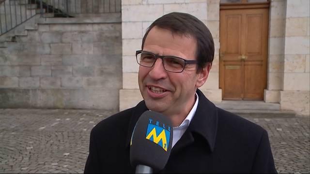 FDP-Kandidat Philipp Müller gewinnt zweiten Ständeratswahlgang: Ein strahlender Matthias Jauslin im Interview mit Tele M1.
