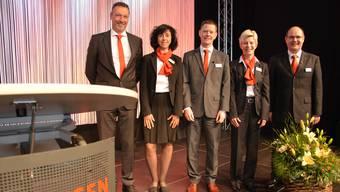 Von links: VR-Vize Thomas Vogt, Rosella Spielmann, Martin Fiechter, Doris Steiner und der BL-Vorsitzende Frank Mackuth.