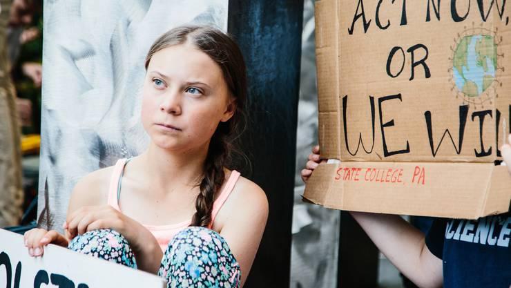 Eine mögliche Rezession könnte nebst der Klimapolitik zu einem wichtigen Wahlkampf-Thema werden: Im Bild Greta Thunberg, diese Woche in New York protestiert. (Foto: EPA/ALBA VIGARAY, 30. August 2019)