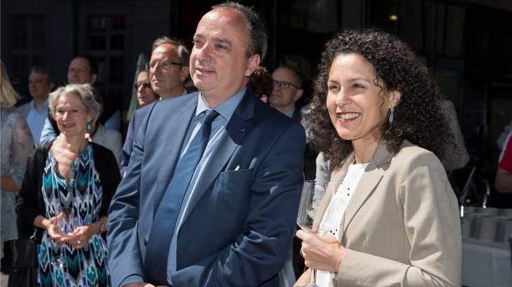 Regierungsrat Markus Dieth und Staatsschreiberin Vincenza Trivigno im Mai 2017.