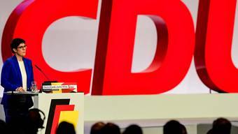 CDU-Parteichefin Annegret Kramp-Karrenbauer am Parteitag in Lepizig.