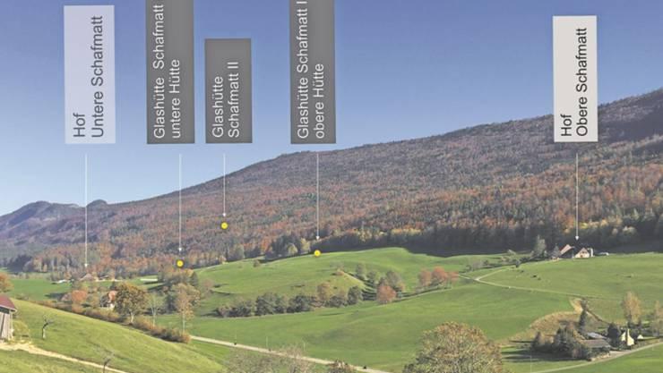 Die Gänsbrunner Glaser wirkten vor rund 300 Jahren zwischen den beiden Bauernhöfen auf der Schafmatt.