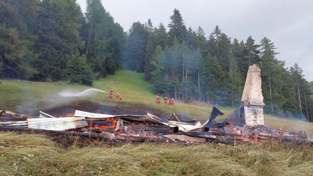 Maiensäss von Flammen komplett zerstört