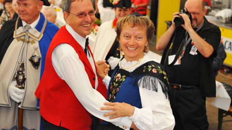 Spontaner Tanz mit Bundesrätin Eveline Widmer-Schlumpf.
