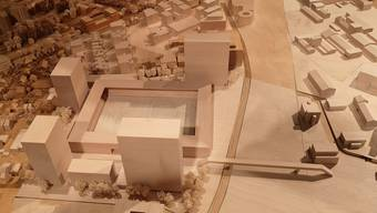 Die vier Hochhäuser (im Vordergrund mit einem möglichen Hotel dazwischen), das Stadion und die Passerelle über die Gleise, wie sie das Stadtmodell zeigt.