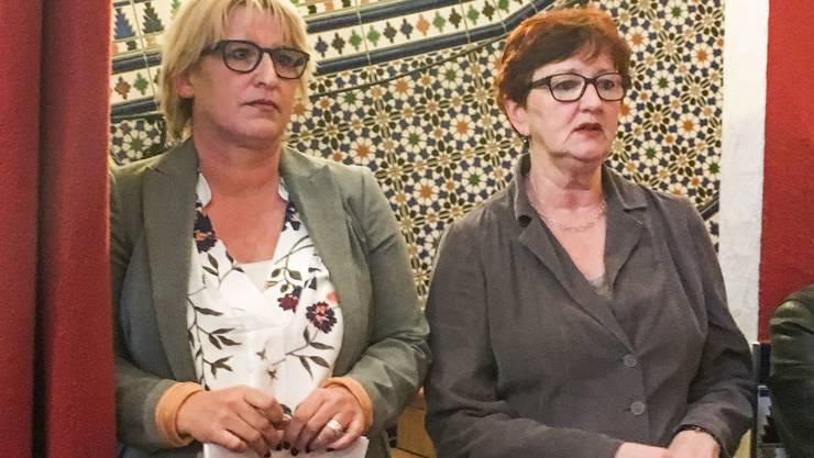 Die beiden Stadträtinnen Marion Rauber (links) und Iris Schelbert sagten vor den Gewerblern, wie es nach dem Budget-Nein weitergehen könnte.