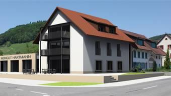 Holzfasskeller, Flaschenlager, Degustationssaal und Wohnungen: Wie auf dieser Visualisierung wird sich der Neubau präsentieren. zvg