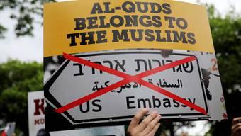 Protest in Jerusalem gegen die Verlegung der US-Botschaft in die geteilte Stadt.