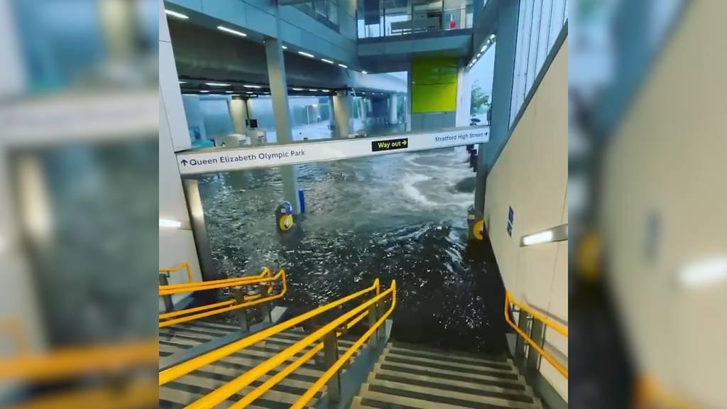Überschwemmte U-Bahn-Stationen und gesperrte Strassen: Unwetter sorgt für Verkehrschaos in London