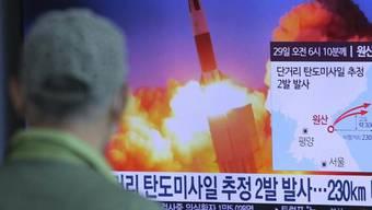 """Ein Mann in Südkorea informiert sich über den neusten Raketentest Nordkoreas. Nach Darstellung der Militärs in Pjöngjang wurde ein """"supergrosser Mehrfach-Raketenwerfer"""" eingesetzt."""