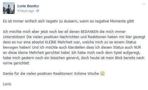 Loris Benito zeigt mit einem neuen Facebook-Post, dass er den Zwischenfall hinter sich lassen will