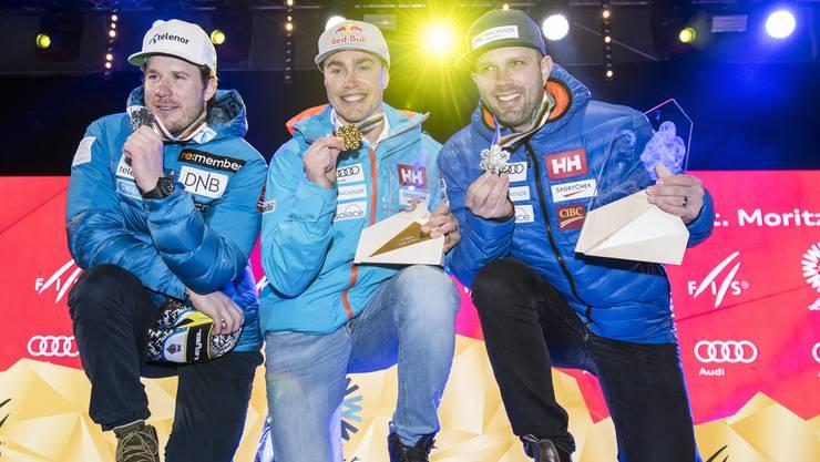 Die Medaillengewinner des Super-G auf einen Blick: Kjetil Jansrud, Erik Guay und Manuel Osborne-Paradis.