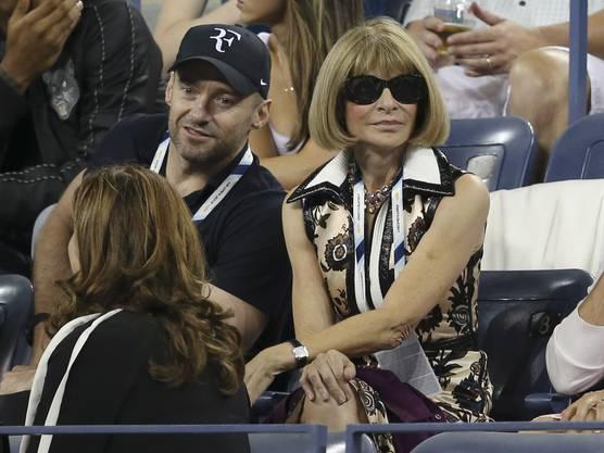 Schauspieler Hugh Jackman mit Vogue-Chefin Anna Wintour.