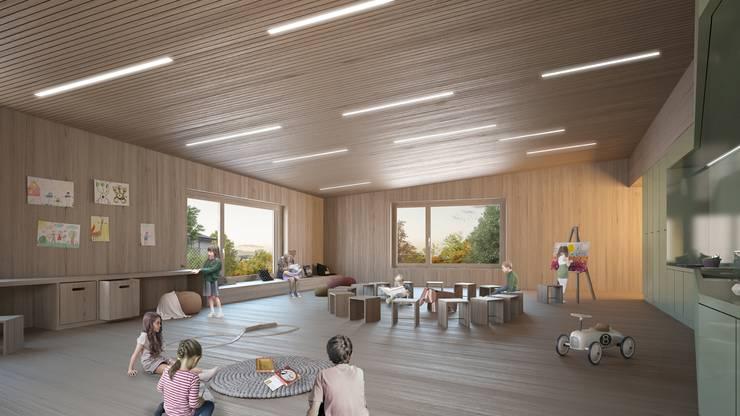 So ist der obere der beiden Kindergartenräume im Neubau geplant. (Visualisierung)