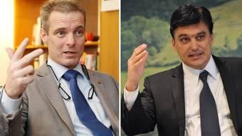 Weltoffen vs. gemässigt konservativ: Franz Saladin, Direktor der Handelskammer beider Basel, und Christoph Buser, Chef der Baselbieter Wirtschaftskammer.