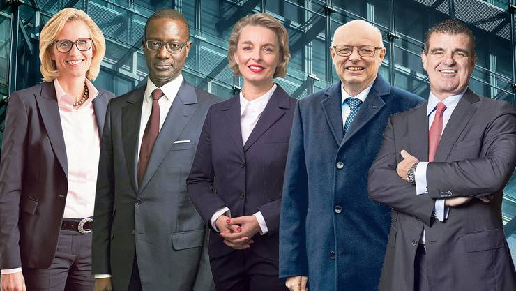 Von links nach rechts: UBS:  Sabine Keller-Busse, CS:  Tidjane Thiam, MIGROS:  Ursula Nold, SBB:  Vincent Ducrot, STADLER RAIL:  Peter Spuhler.