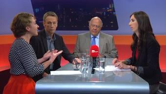 Es diskutierten Irène Kälin (Grüne), Roman Huber (AZ-Journalist) und PR- und Kommunikationsberater Klaus J. Stöhlker.
