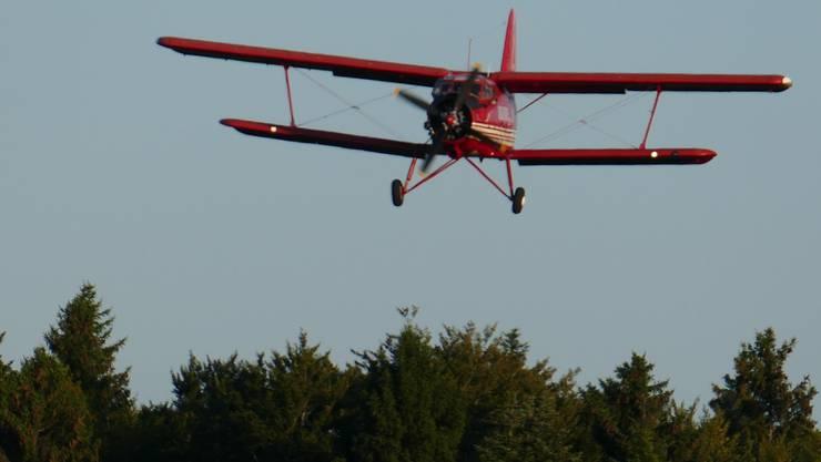 Anflug der Antonov über die Baumwipfel zur Landung auf der Graspiste des Flugplatz Buttwil