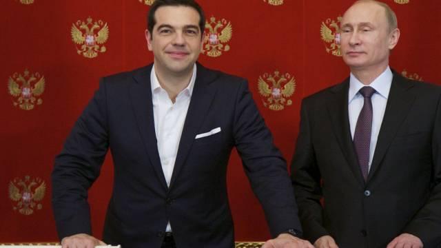 Tsipras (links) und Putin im Kreml in Moskau