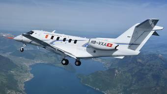 Die Pilatus Flugzeugwerke sind 2015 nichts ins Trudeln geraten, sondern haben an das Rekordergebnis von 2014 anknüpfen können. Im Bild der neue Jet PC-24 bei seinem Erstflug im Mai 2015