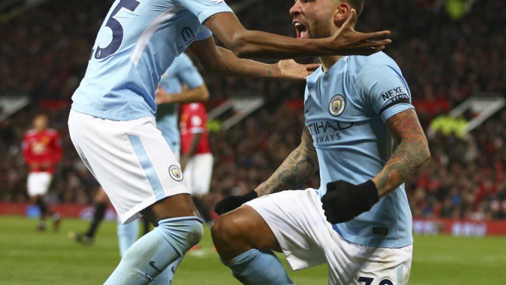Baute mit seinem Tor zum 2:1 im Derby die Siegesserie von Manchester City auf 14 Spiele aus: Nicolas Otamendi (rechts)