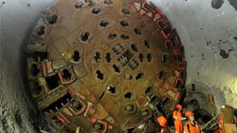 Wer hats erfunden? Eduard Gruner entwarf 1946 die Idee eines Gotthard-Basistunnels. Bild: Bohrkopf der Bohrmaschine.