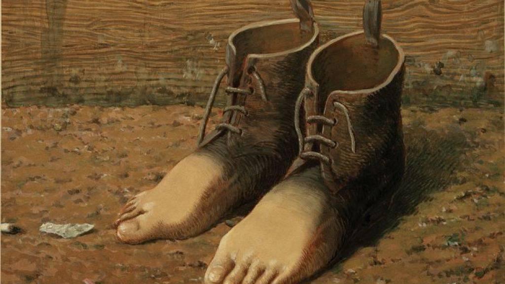 """Ausschnitt aus dem berühmten Gemälde """"Le modèle rouge"""" von René Magritte."""