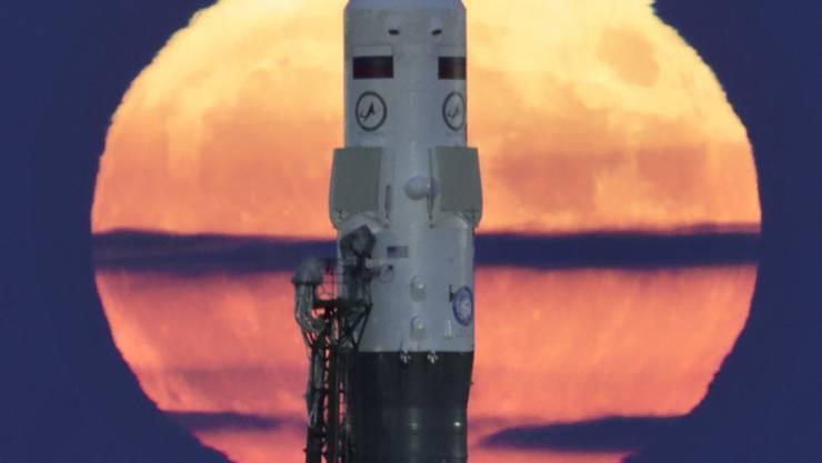 Mit dieser russischen Sojus-FG-Rakete sind schon ISS-Crew-Mitglieder ins Weltall geflogen (Aufnahme vom November 2016 auf der Basis in Baikonur, Kasachstan).