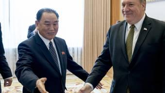 Kim Yong Chol - hier mit US-Aussenminister Pompeo - galt als enger Vertrauter und rechte Hand des nordkoreanischen Machthabers Kim Jong Un. (Archivbild)