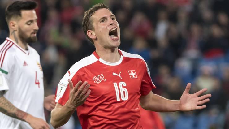 Fabian Frei jubelt über seinen Treffer gegen Ungarn