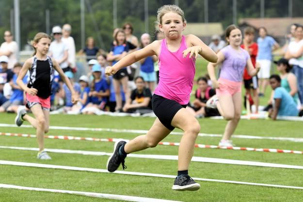 Bei sommerlichen Temperaturen massen sich die Primarschüler im Ballweitwurf, Weitsprung, einem Parcours, im Postenlauf, Seilspringen und verschiedenen Ballsportarten.