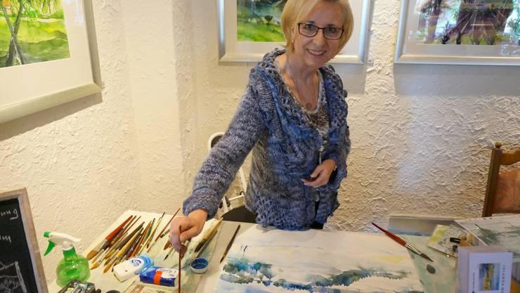 Jolanda Meier gibt Kurse in Aquarell-Malen und zeigt ihre Kunst vor Ort