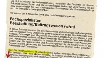 Sorgte für Empörung: Die Stellenausschreibung der Solothurner Gebäudeversicherung.