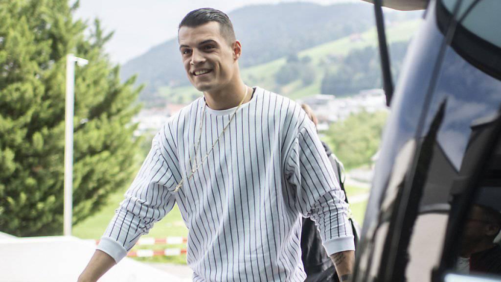 Lässt sich die Laune trotz Kritikern nicht verderben: Der Schweizer Mittelfeldstratege Granit Xhaka