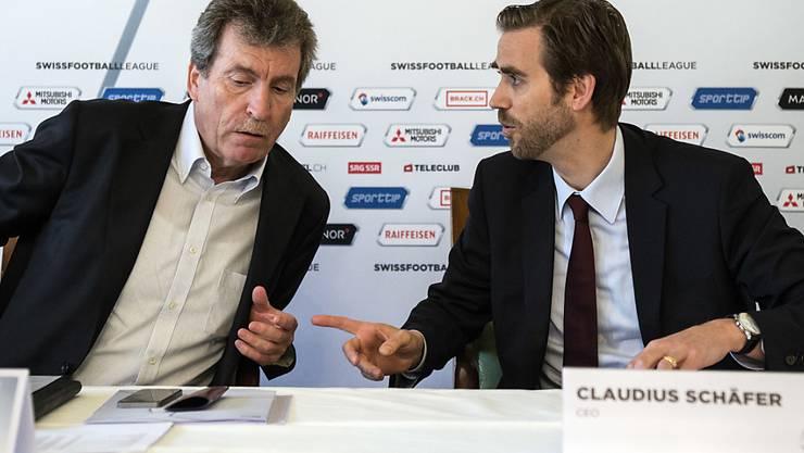 Präsident Heinrich Schifferle und CEO Claudius Schäfer planen keine Modusänderung im Schweizer Fussball